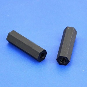 "PFG 20mm/1.57"" Black Nylon M3 Threaded Hex Female-Female Standoff Spacer"