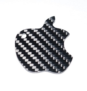 Carbon Fiber Specialties 3K Twill Weave Carbon Fiber Apple Key Ring Key Chain