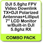 "DJI 5.8ghz FPV Video Downlink TX+DJI Polarized Antennas+Lilliput 7"" LCD Monitor w/Built-in DJI 5.8ghz RX COMBO PACK"