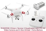 DJI Phantom 2 Vision+ Version 3 Quadcopter with FPV HD Video Camera and 3-Axis Gimbal + Extra Battery