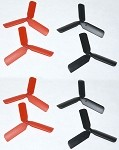 Hubsan Style Black/Red 3-Blade Micro Props For The DP03 Brushless Motors 8 Props Total)