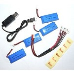 4x 3.7v 1S 500mAh 25c Lipo Battery + Charge Cable For Micros + USB Charger