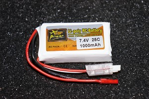 ZOP Power 7.4V 1000mAh 2S 25C Lipo Li-Poly Battery Pack w/JST Plug